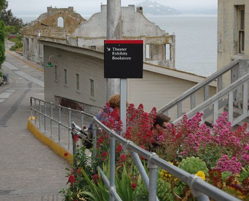 Outdoor Information Wayfinding Sign at Alcatraz Island State Park & Museum