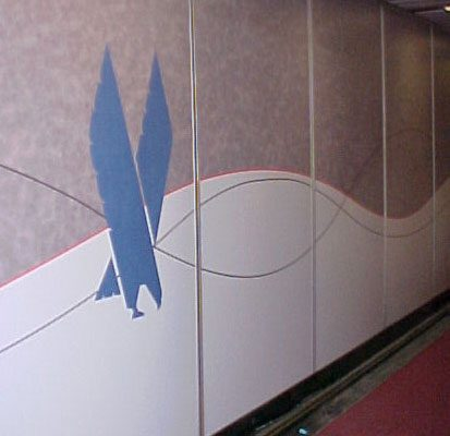 Indoor Custom Laminate Wall Wrap at American Airlines Jetbridge with Logo