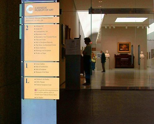 Indoor Custom Wayfinding Sign at Carnegie Museum