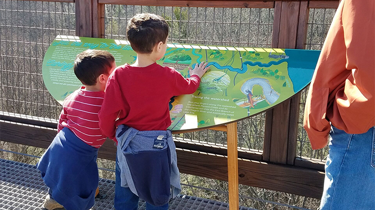 Outdoor Interactive Park Sign with Children