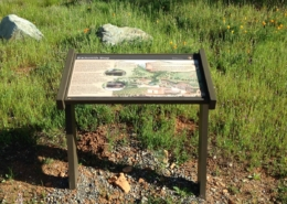Whiskeytown NRA close up of interpretive panel in cantilever pedestal