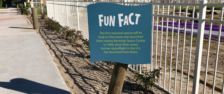 Florida Beach Resort shaped intepretive panel