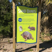 Florida Beach Resort shaped intepretive panel in kiosk featuring sand dunes