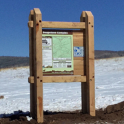 Heber Kamas Ranger District large wooden structure with map attached
