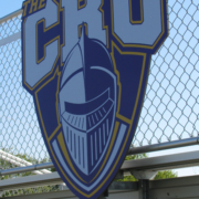 UMHB Wayfinding Large cut to shape mascot and letters attached to field house