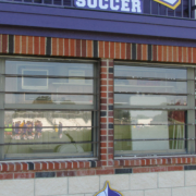 UMHB Wayfinding cut to shape mascot and letters attached to field house