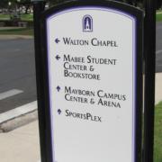 UMHB Wayfinding Sign designating campus bulidling locations