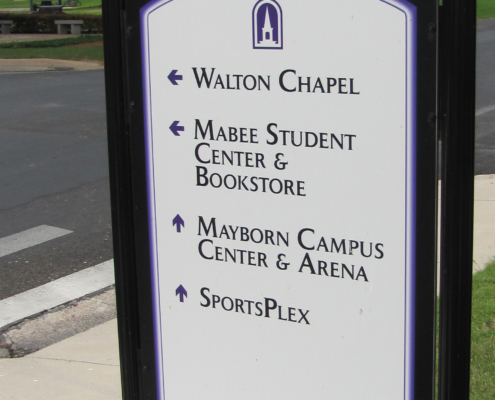 UMHB Wayfinding Sign designating campus bulidling locations