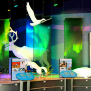 Indoor zoo exhibit featuring white animal sculptures and CHPL panels