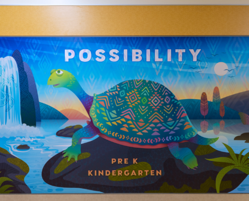 """Barnett Elementary wall panel,prek and kinder, turtle with the word """"possibility"""""""