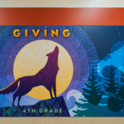 """Barnett Elementary wall panel,4th Grade, wolf with the word """"giving"""""""