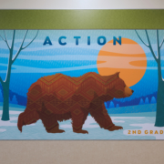 """Barnett Elementary wall panel,2nd Grade, Bear with the word """"action"""""""