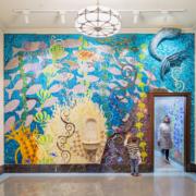 Enoch Pratt Free Library Wall murals featuring hand watercolored under water sea scene