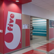 """GW Carver wall panel with the word """"five"""""""