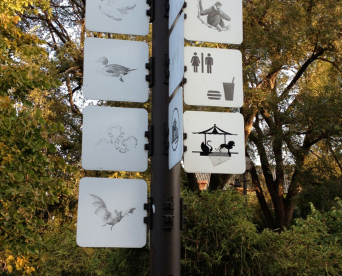 Zoo Wayfinding sign with pictograms