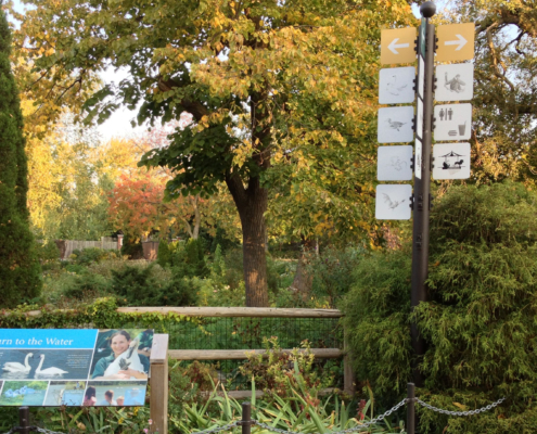 Zoo Scene with wayfinding and animal identity sign