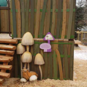 Playscape with cut to shape signs attached