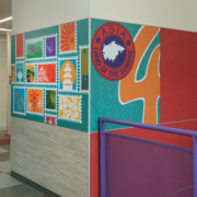 Pomeroy Elementary School wall panels featuring bright vivid cultural graphics