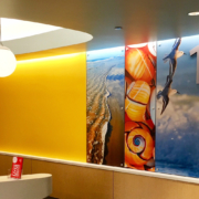 Texas Children's Hospital Wall panels in reception area featuring sealife images