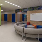 "Thornton Elementary School hallway feature mural with ""Bluebonnet"" wildflowers"