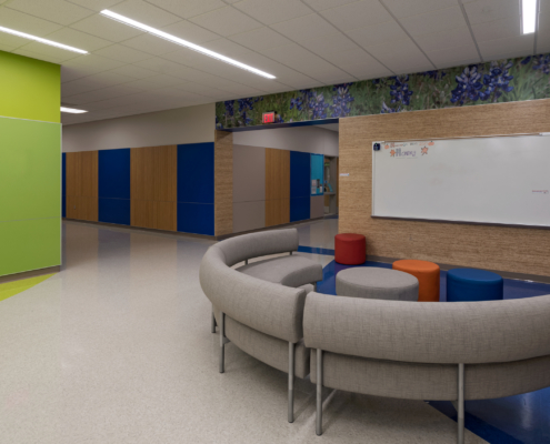 "Thornton Elementary School hallway feature mural with ""Bluebonnet"" wildflowers"