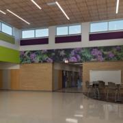 Thornton Elementary School wall mural strip near ceiling featuring Texas wildflowers