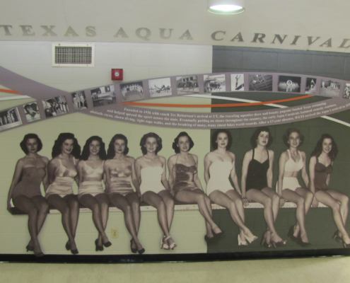 UT Swim Center cut to shape Wall graphics featuring photos of swim team members of the past