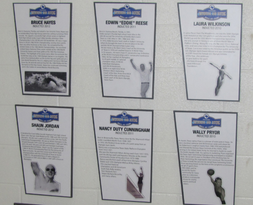 UT Swim Center Plaques featuring past swim team memebrs with small cut to shape attachments