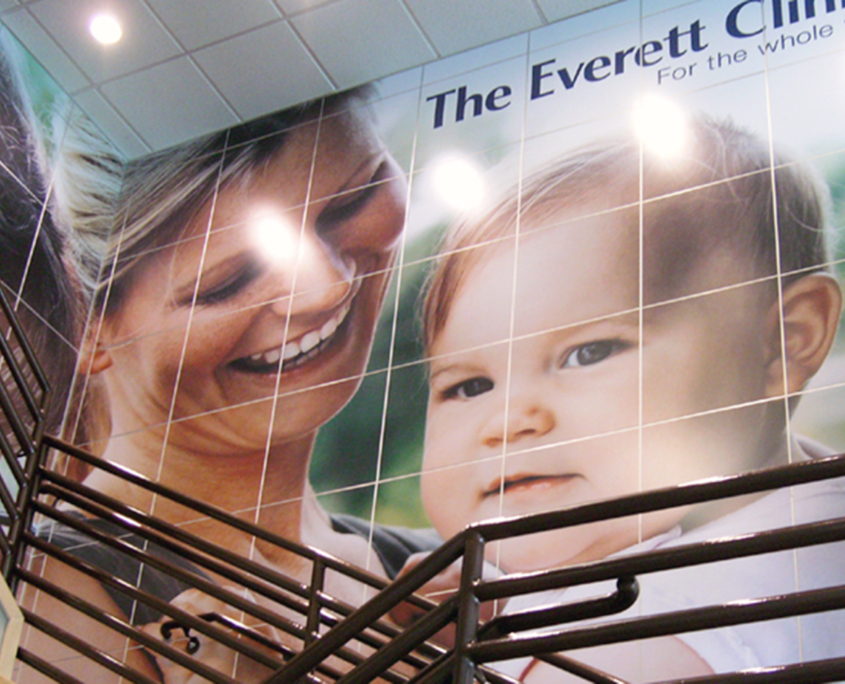 Everett Clinic Mural featuring mom and baby